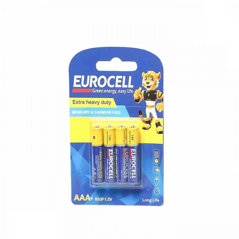 باتری کربن زینک نیم قلمی 4 عددی یورو سل