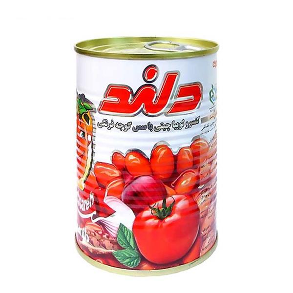 کنسرو لوبیا چیتی با سس گوجه فرنگی 380 گرم دلند