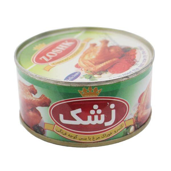 کنسرو خوراک مرغ با سس گوجه فرنگی(زشک)