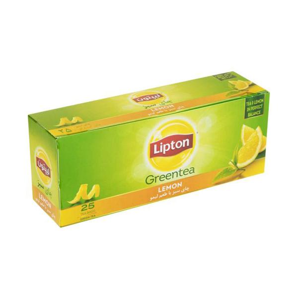 چای سبز لیپتون با طعم لیمو 25عددی