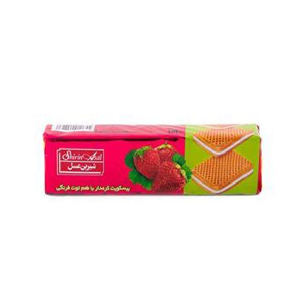 بیسکویت کرمدار با طعم توت فرنگی 120 گرم شیرین عسل