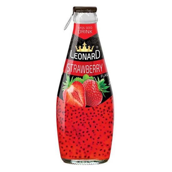 نوشیدنی تخم شربتی توت فرنگی 300 میل لئونارد