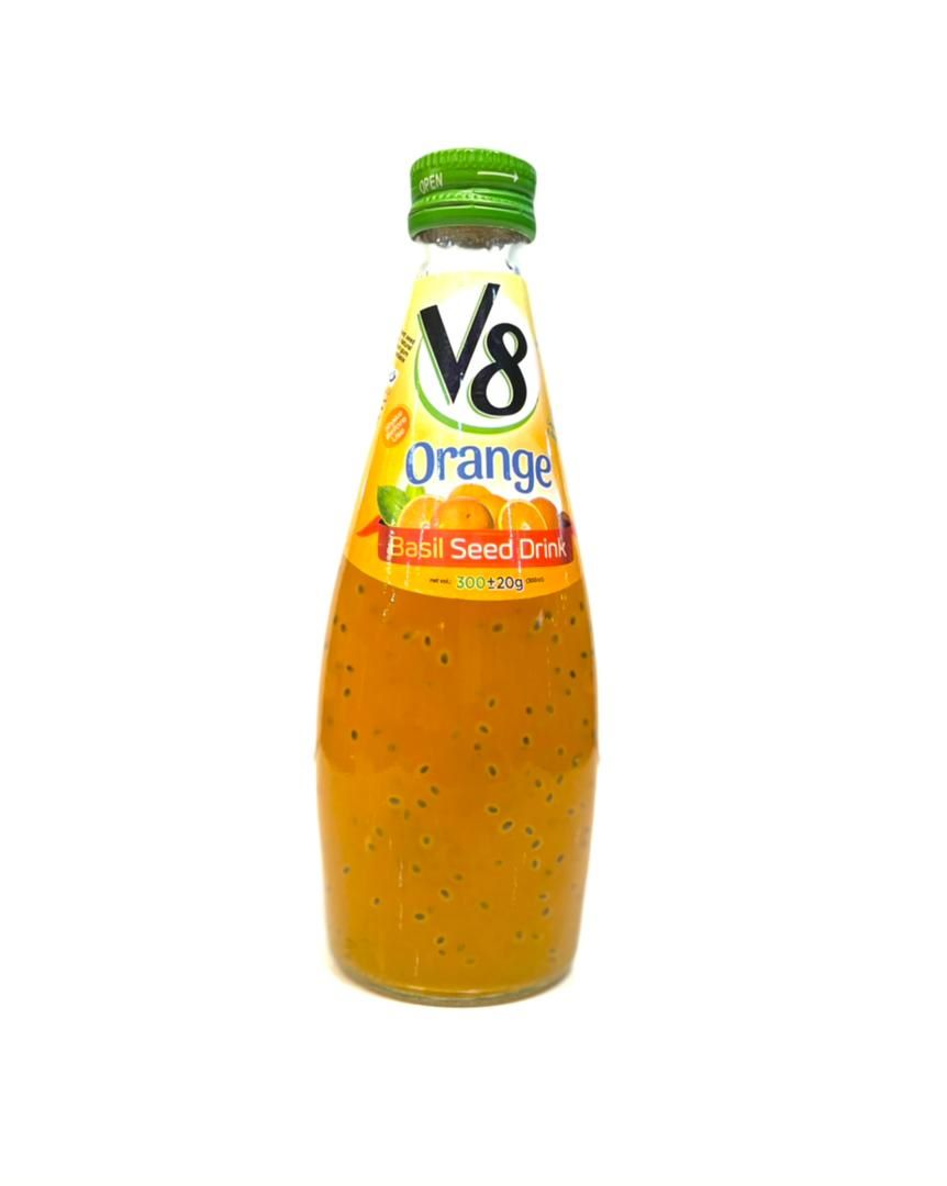 نوشیدنی تخم شربتی پرتقال v8