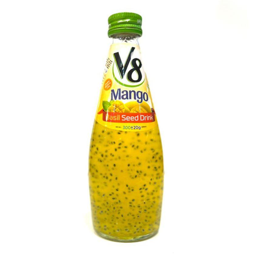 نوشیدنی تخم شربتی انبه v8